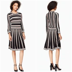 Kate Spade Striped Scalloped Sweater Dress